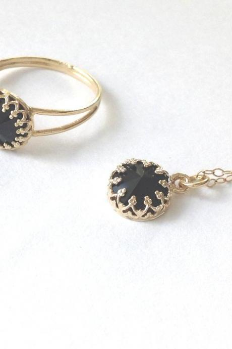 Gold ring, gold and black , black swarovski, gold filled ring, delicate gold necklace, black pendant, black ring B1