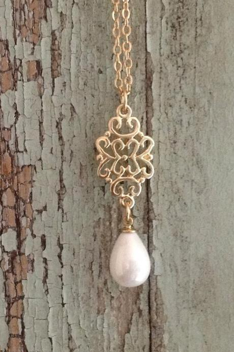gold necklace, gold and pearl necklace, lace pattern, dainty necklace, simple gold necklace, wedding, evening -050