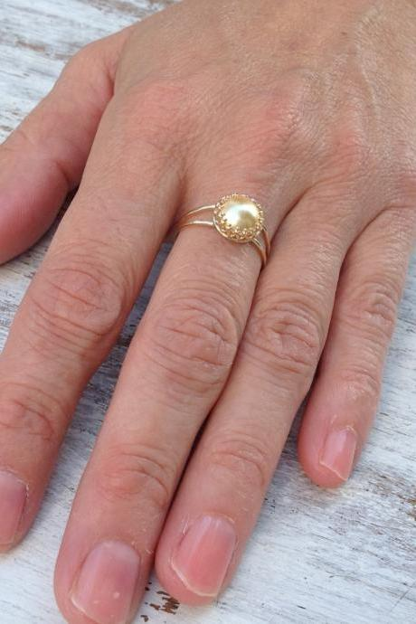 Gold ring, gold stacking ring, gold pearl, cocktail ring, bride ring, stacking gold ring, pearl ring, gold filled ring A505