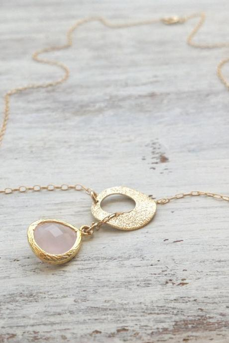 Neckalce, lariat necklace, dainty gold necklace, delicate necklace, circle necklace, gold circle necklace