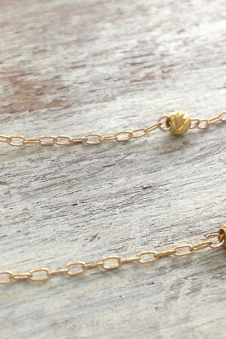gold anklet, gold anklet bracelet, gold bead anklet, tiny anklet, delicate jewelry, simple jewelry, summer A535