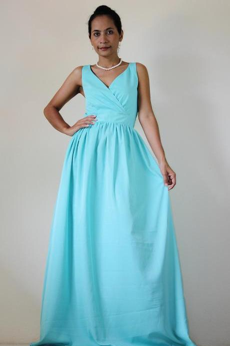 Mint Bridesmaid dress - Maxi dress Classy V neck Sleeveless Long Evening Gown: Bussaba My Endless Love Collection