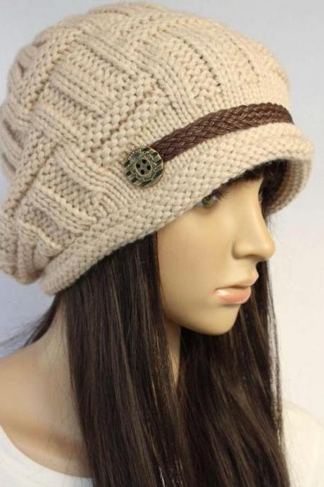 Beige Slouchy Knitted Hat Cap Beanie