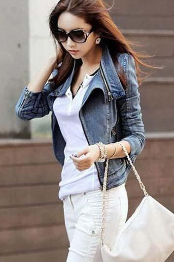 Fashion Fitted Zipper Closure Denim Jackets