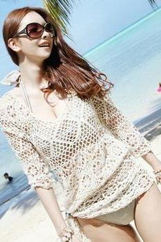 Long Sleeve Crochet Lace Top In Three Colors