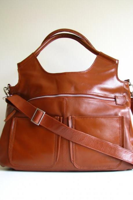 Leather Handbag Weekend Travel Laptop Bag