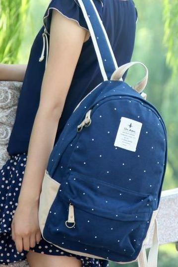 Blue Polka Dots Backpack
