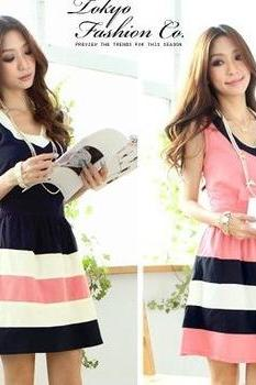 Casual Striped Chiffon Dresses In Pink