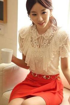 Elegant Beaded Short Sleeve Lace Blouses Top With Ruffle In White