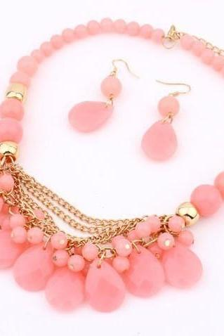 Pastel Pink Faceted Bead Statement Necklace and Earring Set