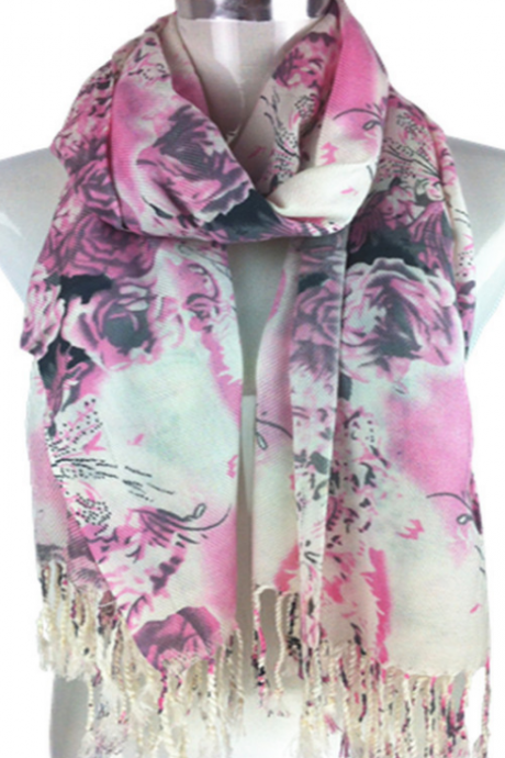 2015 new imitation cashmere twill scarf thickened group of shoulder peony flower scarf