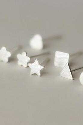 925 Sterling silver earrings minimalist star flower circle triangle cute elegan ear stud ear nail