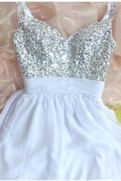 Gorgeous Shiny Sequins Short Homecoming Party Dresses, Mini Prom Dress 2015, Party Dresses, Graduation Dresses 2015