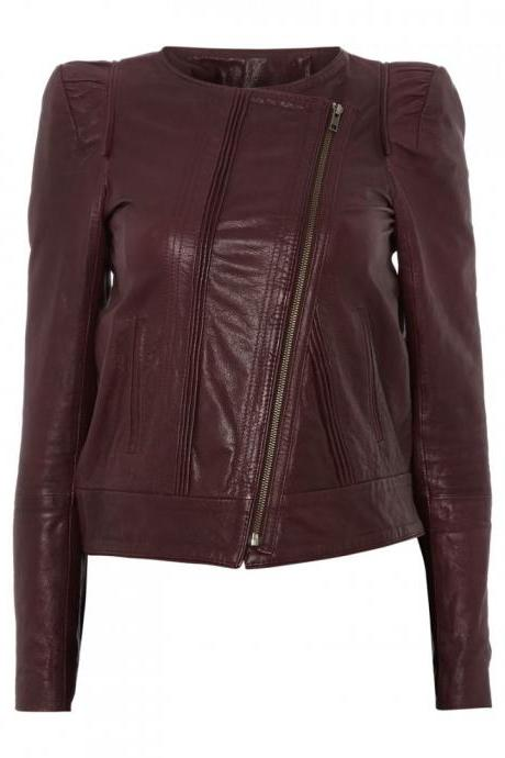 WOMENS BIKER JACKET, MAROON COLOR COLLARLESS WOMEN JACKET, WOMEN FASHION JACKET