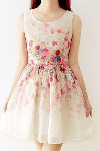 Fresh Style Floral Print Sleeveless Gathered Waistline Dress