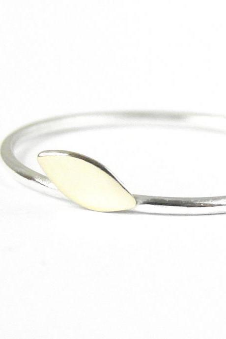 Simple minimalist ring. Gold brass leaf and silver band. Stacking ring.