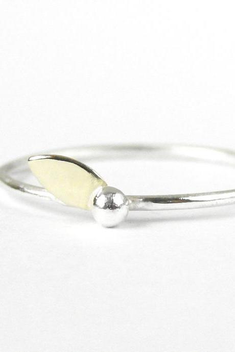 Delicate ring. Sterling silver and gold brass leaf. Stacking ring
