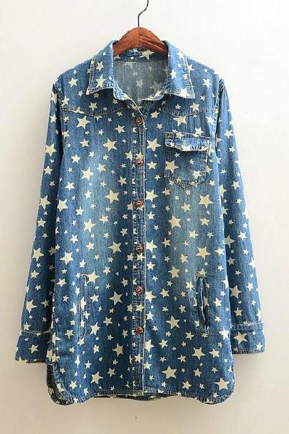 Women'S Fashion Star Denim Shirt