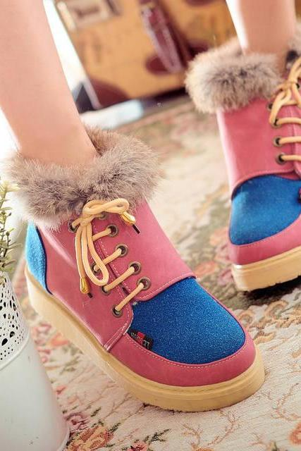 Colorful Patchwork Suede Faux Fur Flat Ankle Boots
