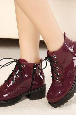 Wine Red And Black Vintage Design Lace Up Short Boots