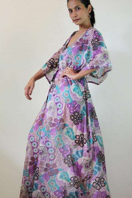 Maxi Dress Kaftan Long Boho Gown with lovely flower print : Bohemian Kaftan Collection