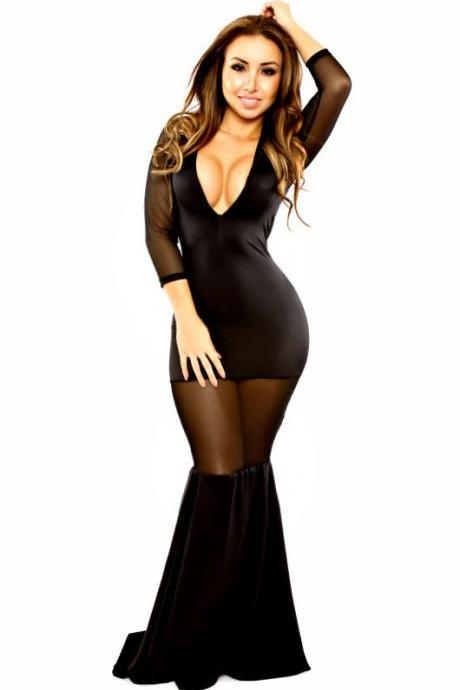 Cheap Sexy V Neck Three Quarter Sleeves Mesh Hollow-out Patchwork Black Polyester Mermaid Maxi Dress