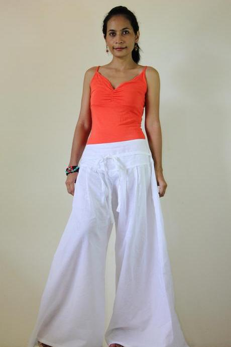 White Pants - Wide Leg Pants Cotton Linen Casual Wear : Soul of the Orient Collection