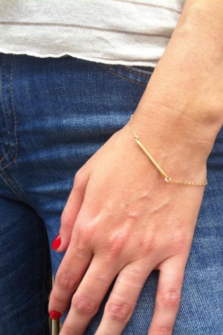 Gold Bracelet - Gold Bar Bracelet, Modern Geometric Gold Jewelry, Simple Gold Bracelet, Everyday Bracelet, Dainty Gold Bracelet