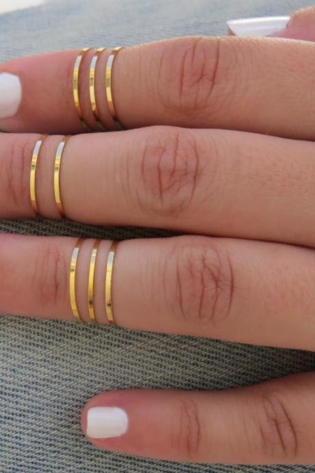 8 Above the Knuckle Rings - Gold Ring, Stacking rings, Knuckle Ring, Thin gold shiny bands, Set of 8 stack midi rings, Gold accessories