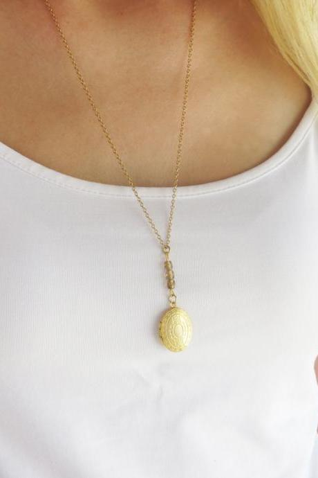 Gold long necklace, Locket necklace, Oval locket pendant, Jewelry photo locket, Dainty necklace, Gold locket, Personalize gift, Gold jewelry