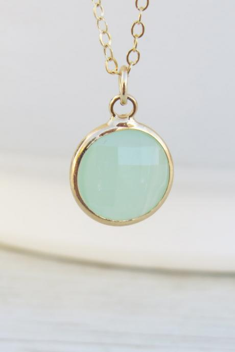 Gold necklace, Stone necklace, Bridesmaid necklace, Mint gemstone necklace, Birthstone necklace, Delicate gold necklace, Gift for her