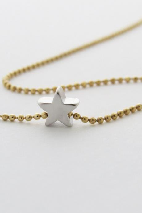 Gold necklace - Silver star necklace - Silver pendant - little dainty necklace - Simple gold necklace, everyday gold jewelry