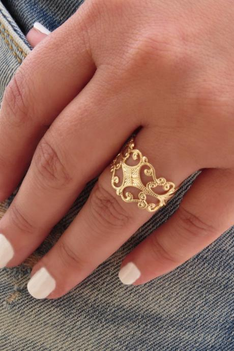 Filigree ring - Gold ring, Adjustable ring, Statement ring, Gold band ring, Bridesmaid gift, Gold accessories, Gold jewelry, Birthday gift