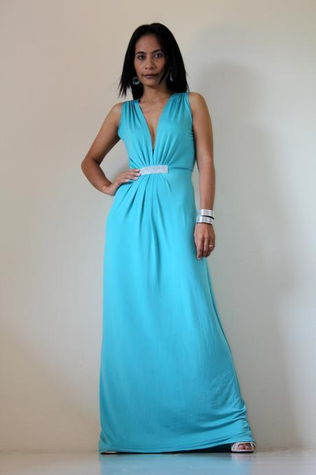 Long blue Maxi Evening Dress : Elegant Collection