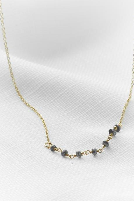 Gold necklace, Labradorite necklace, Gemstone necklace, Layerd gold necklace, Bridesmaid gift, Delicate gold necklace