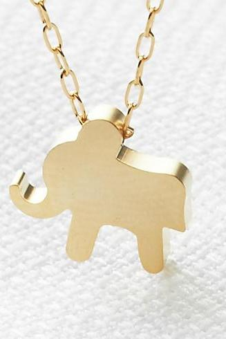 Gold necklace, Gold elephant necklace, Goldfilled chain with elephant charm, Tiny gold elephant, Delicate gold jewelry, Gift for her