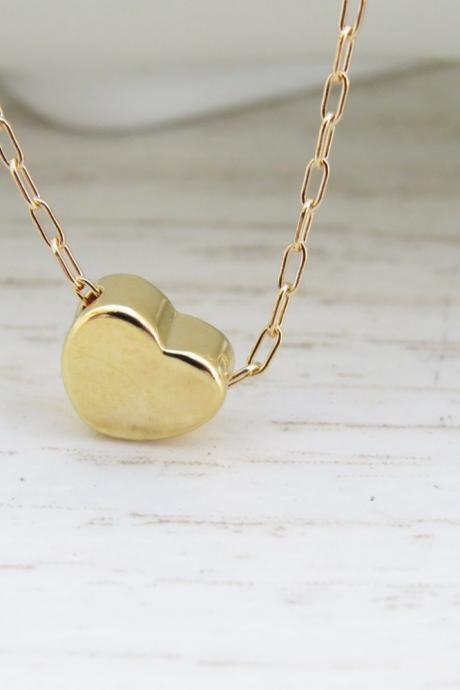 Gold necklace, Tiny heart necklace, Small heart necklace, Goldfilled heart necklace, Gold jewelry, Dainty gold necklace, Birthday gift
