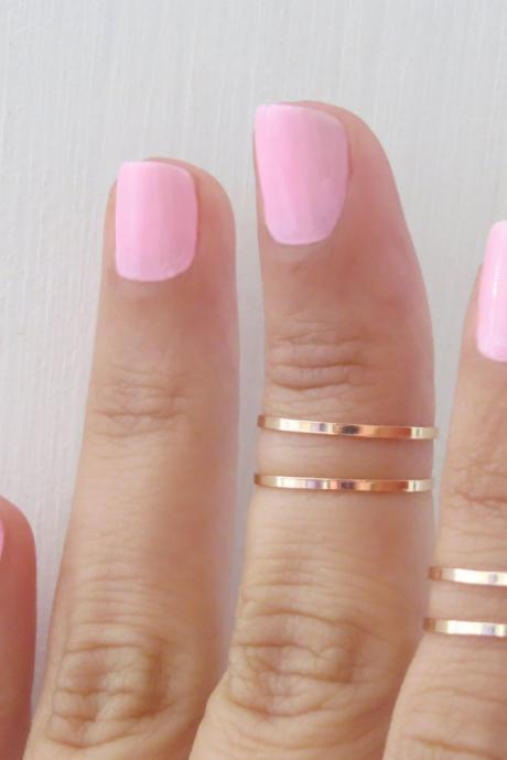Gold Ring - Rose gold stacking rings, Knuckle Ring, Thin rose gold shiny bands, Set of 4 stack midi rings, Gold accessories