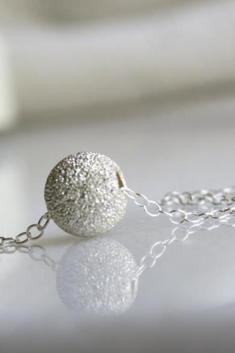 Silver necklace, Ball necklace, Silver dot necklace, Small silver jewelry, Tiny necklace, Simple silver necklace, Bridesmaid necklace