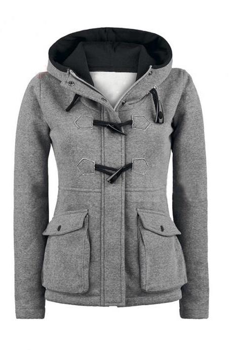 Leisure Hooded Horn Button Hoodie Women'S Plus Size Coat