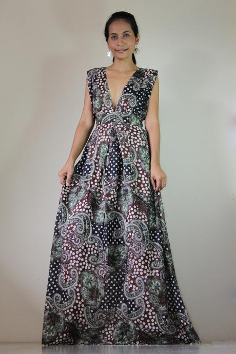 Paisley Maxi Dress Comfy Low V-neck Brown and Black with Polka Dot Printed Long Gown : Oriental Secrets Collection