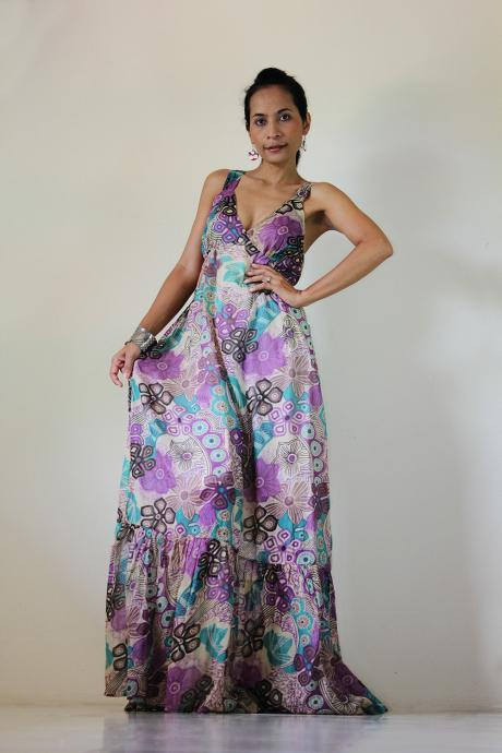 Boho Maxi Dress Cotton Bohemian Sleeveless Long gown : Kiss of the Sun Collection