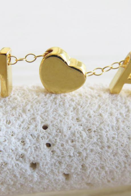 Gold Initial Necklace, Goldfilled Letter Necklace, Initial heart necklace, Tiny Initial Necklace, Love necklace, Custom jewelry, Unique gift