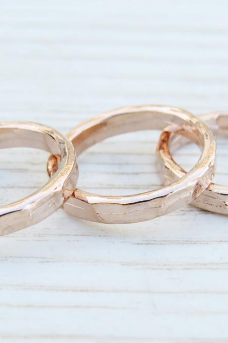 Gold Rose knuckle Ring - Gold rose stacking rings, Gold rose shiny bands, Set of 3 stack midi rings, Gold rose jewelry