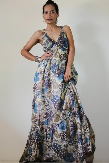 Maxi Dress Boho Cotton Sleeveless Long Gown : Kiss of the Sun Collection