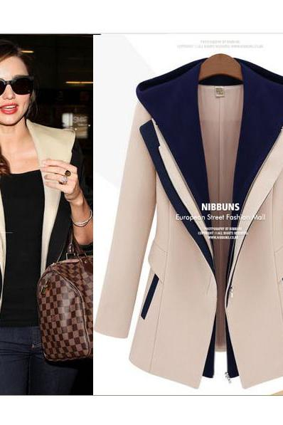 Fashion Jackets Women Slim Two Pieces Outerwear Patchwork Blazer Casual Female Coats
