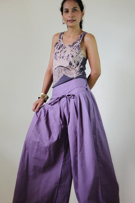 Purple Pants - Wide Leg Pants Cotton Linen Casual Wear : Soul of the Orient Collection