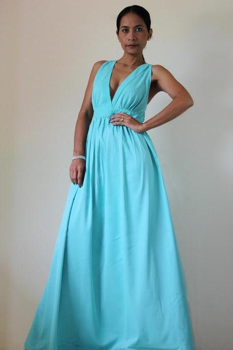 Mint Maxi Dress Classy Elegant Deep V-Shape Sleeveless Formal Long Evening Gown: Keerati My Endless Love Collection