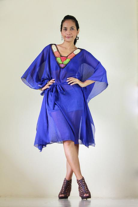 Chiffon Kaftan Blouse Loose Fit or short butterfly blue dress with embroidered neckline : Eastern Delight Collection II