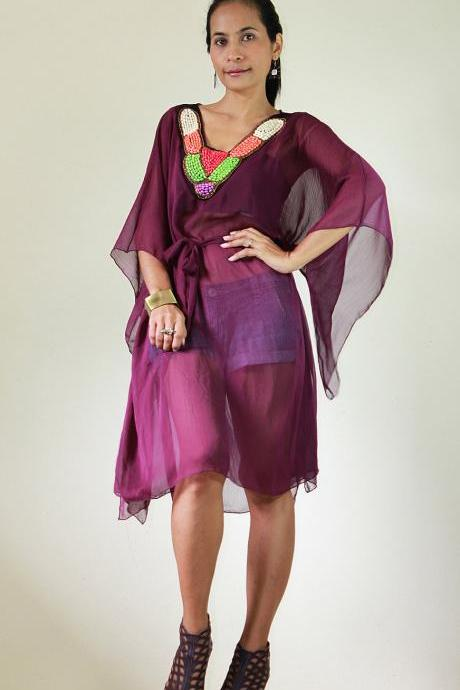 Chiffon Kaftan Blouse Loose Fit or short butterfly purple dress with embroidered neckline : Eastern Delight Collection II
